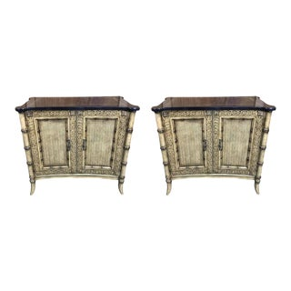 Regency Style Faux Bamboo Cabinets by Maitland Smith - a Pair