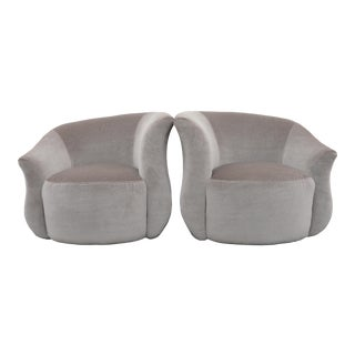 Post Modern Vladimir Kagan Style Swivel Chairs in Mohair For Sale