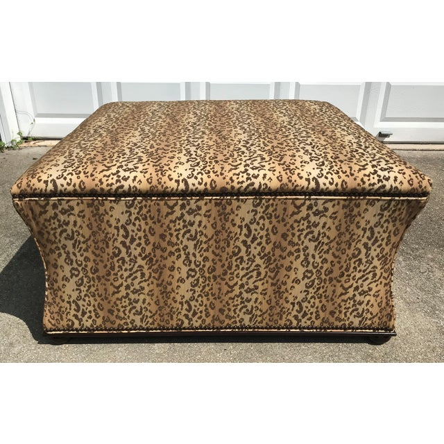 Antique Style Designer Ottoman Leopard Print Upholstery Footstool For Sale In Atlanta - Image 6 of 9