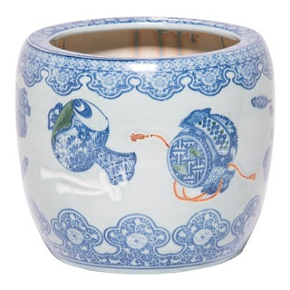 Japanese Blue and White Hibachi Vessel With Presentation Objects For Sale