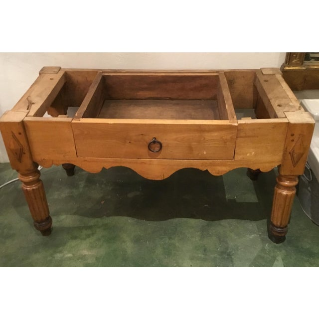 19th C. French Carved Butcher Block Table For Sale - Image 11 of 13