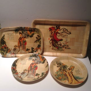 Vintage Chinese Bamboo Plates and Trays - Set of 4 Preview