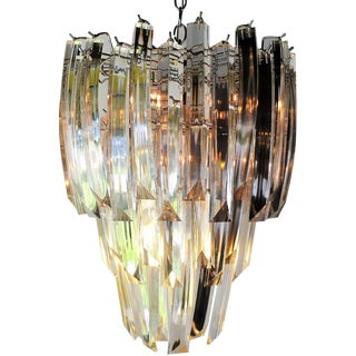 1970s Vintage Modern 9 Lights Lucite Chandelier For Sale