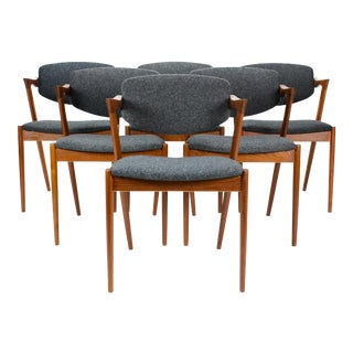 1950s Vintage Kai Kristiansen Model 42 Dining Chairs- Set of 6 For Sale