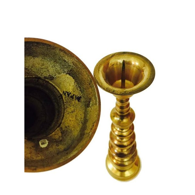 Mid-Century Brass Stacked Pagoda Candlesticks - A Pair For Sale - Image 4 of 6