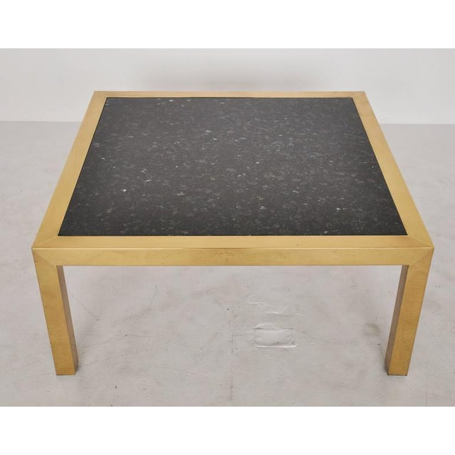 Mid-Century Modern Brass and Stone Coffee Table, circa 1970 For Sale - Image 3 of 5