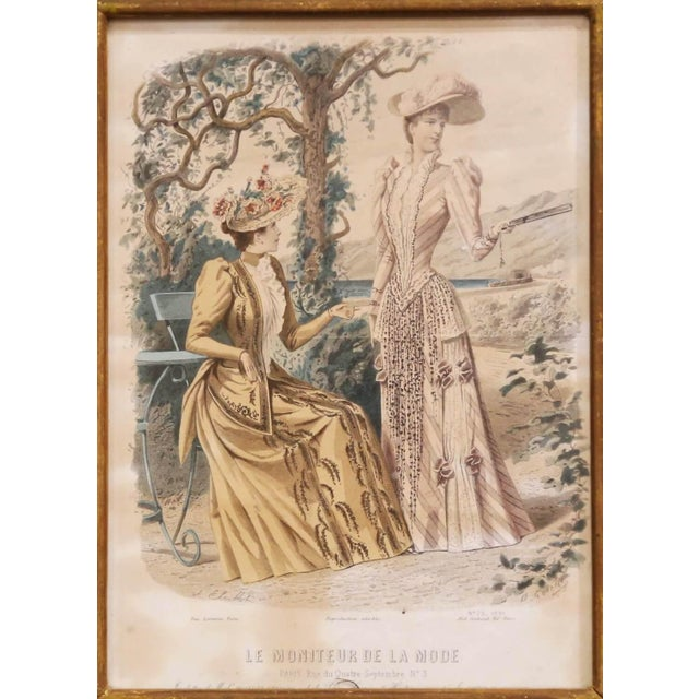"""19th Century French Color Women Fashion Prints Framed Dated 1890 """"Set of Five"""" For Sale In Dallas - Image 6 of 13"""