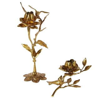 1960s Vintage Brass Roses and Birds Candle Holders - a Pair For Sale