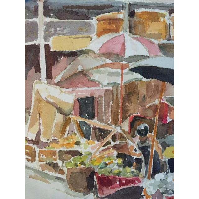 Thelma Moody Gouache Farmer's Market Painting For Sale In San Francisco - Image 6 of 7