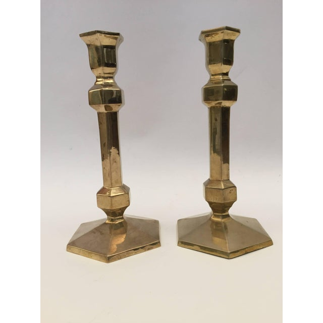 Pair of Brass Candlesticks For Sale In Los Angeles - Image 6 of 9