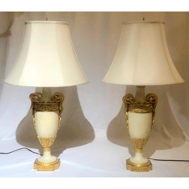 Louis XVI Pair Antique Exceptional Louis XVI Marble and Ormolu Mounted Urn Lamps, Circa 1820-1830. For Sale - Image 3 of 3