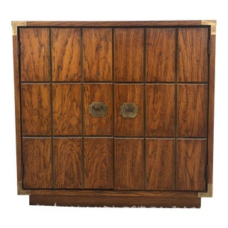 Mid Century Campaign Style Storage Cabinet by Stanley Furniture For Sale