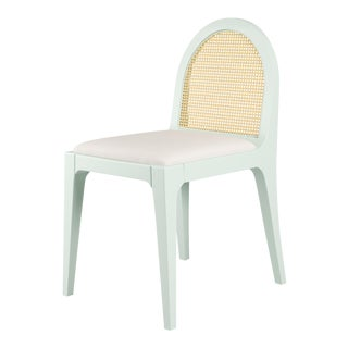 Juliette Dining Chair - Turquoise Mist, Optic White Linen For Sale