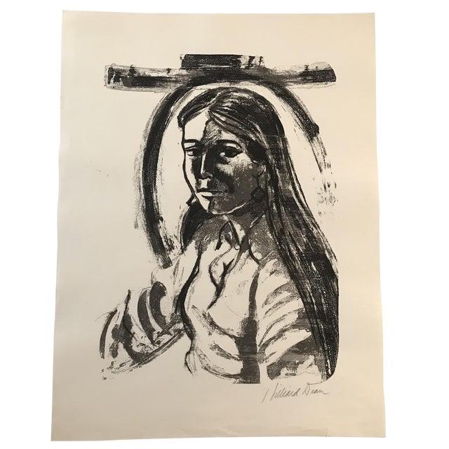 1970s Vintage Hilliard Dean Portrait of a Lady Serigraph For Sale