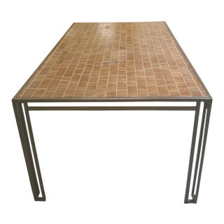 Billy Baldwin 1970s Iron & Wood Dining Table For Sale
