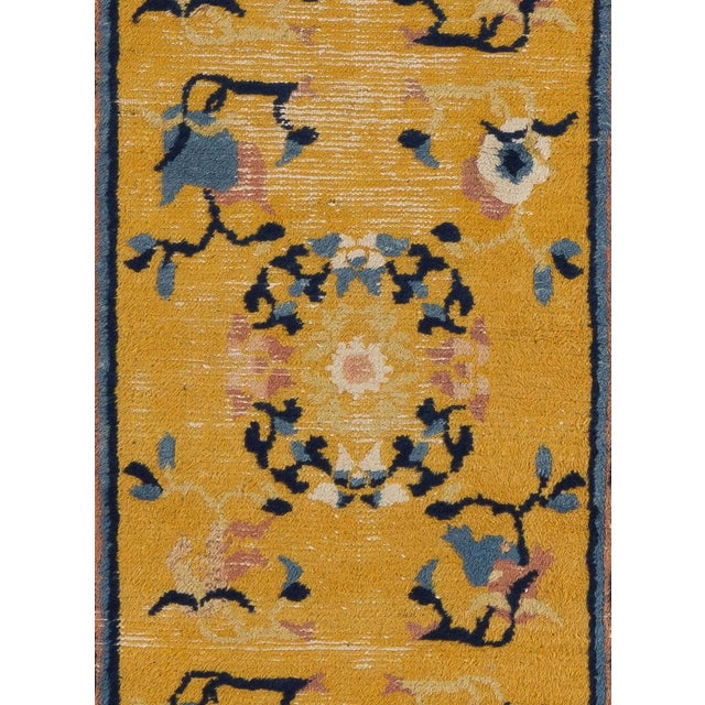"Mid 19th Century Antique Chinese Ningxia Short Runner- 7'2""x2'5"" For Sale In New York - Image 6 of 7"