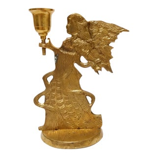Jainson Brass Angel Candlestick Candle Holder For Sale
