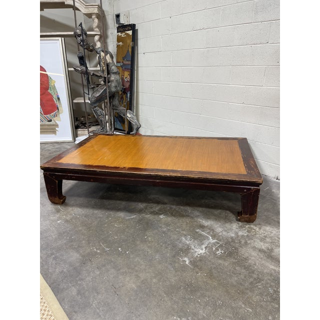 Chinoiserie Oversized Ming Bamboo and Wood Kang Coffee Table For Sale - Image 3 of 8