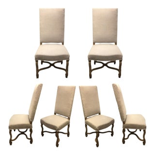 Traditional Linen Dining Chairs For Sale