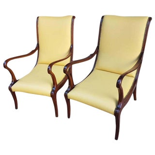 1950s Upholstered Italian Leather Lounge Chairs- A Pair For Sale