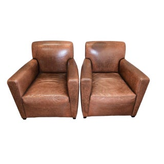 Baker Furniture Leather Club Chairs - a Pair For Sale