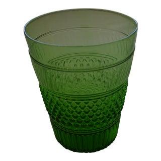 1970s Metropolitan Museum of Art Green Flip Glass Vase For Sale