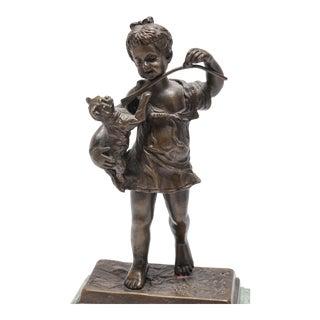 Girl & Cat Bronze Sculpture After Emile Henri LaPorte For Sale