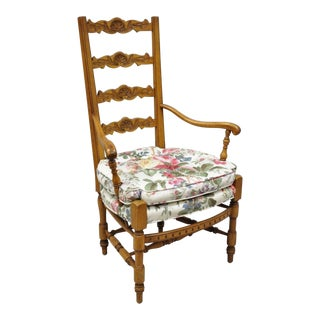 Vintage Mid Century French Country Provincial Style Shell Carved Tall Ladder Back Arm Chair For Sale