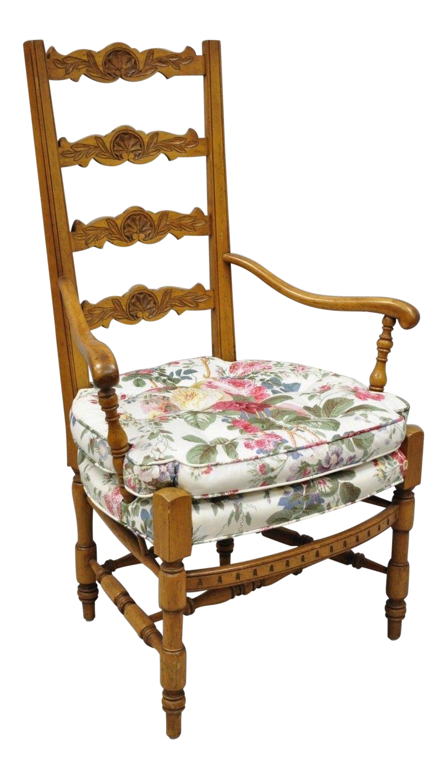 Vintage Mid Century French Country Provincial Style Shell Carved Tall Ladder Back Arm Chair Chairish