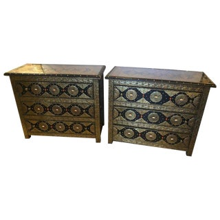 Pair of Brass and Ebony Camel Bone Inlaid Moroccan Commode or Nightstands For Sale
