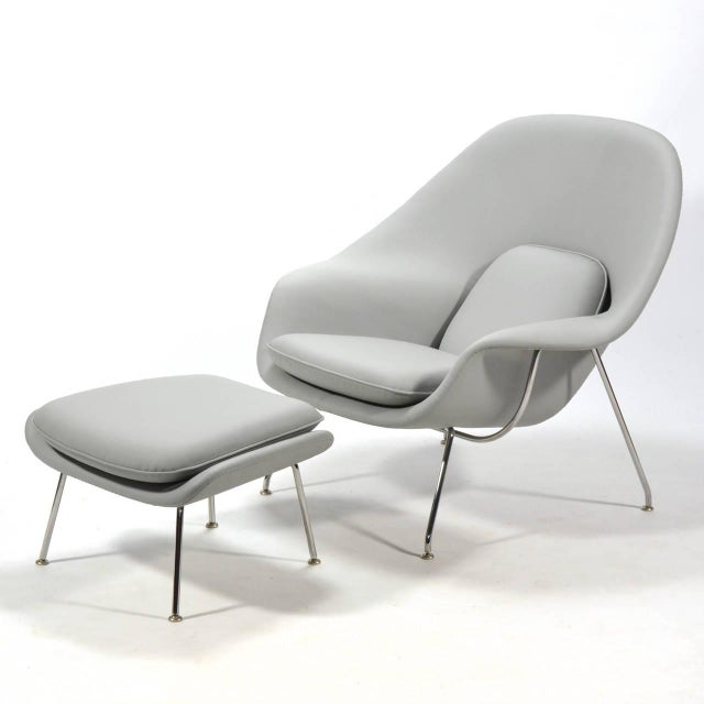 Eero Saarinen Womb Chair and Ottoman in Leather by Knoll - Image 11 of 11