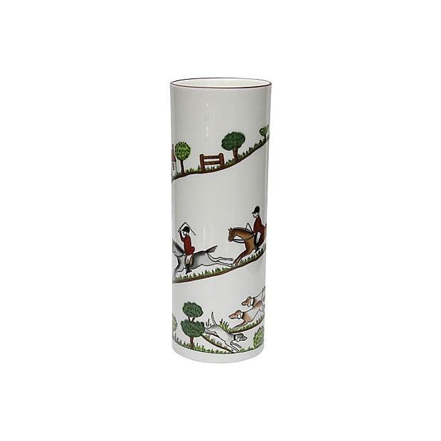 Cottage English Hunting Scene Flower Vase For Sale - Image 3 of 5