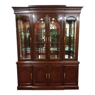 1990s Traditional Harden Furniture Solid Cherry Lighted China Cabinet For Sale