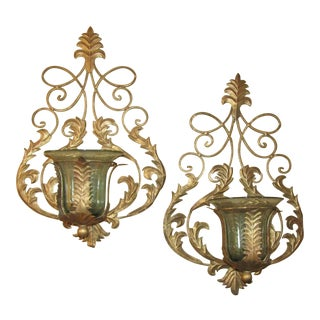 Metal Wall Sconces With Glass Holders for Plant/Candle - a Pair