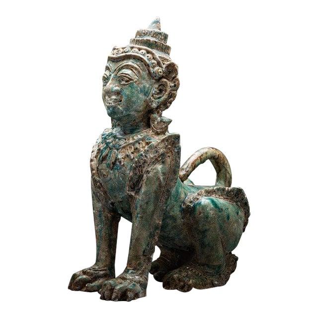 Khmer Glazed Terracotta Sphinx For Sale