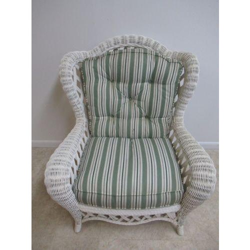 Vintage Custom Wicker Patio Porch Living Room Lounge Chair For Sale - Image 4 of 13