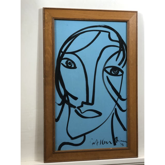 """Abstract 1980s Peter Keil """"Blue Face"""" Painting For Sale - Image 3 of 3"""