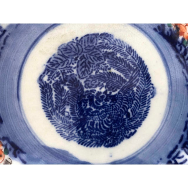 Antique Japanese Imari Oval Scalloped Bowl For Sale - Image 9 of 12
