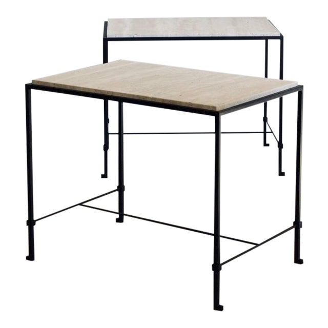 """Contemporary Design Frères """"Diagramme"""" Wrought Iron and Travertine Side Tables - a Pair For Sale"""