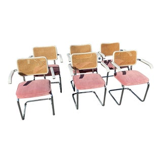1970s Pink and White Cesca Chairs- Set of 6 For Sale