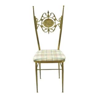 Vintage Mid Century Italian Brass Chiavari Accent Side Chair For Sale