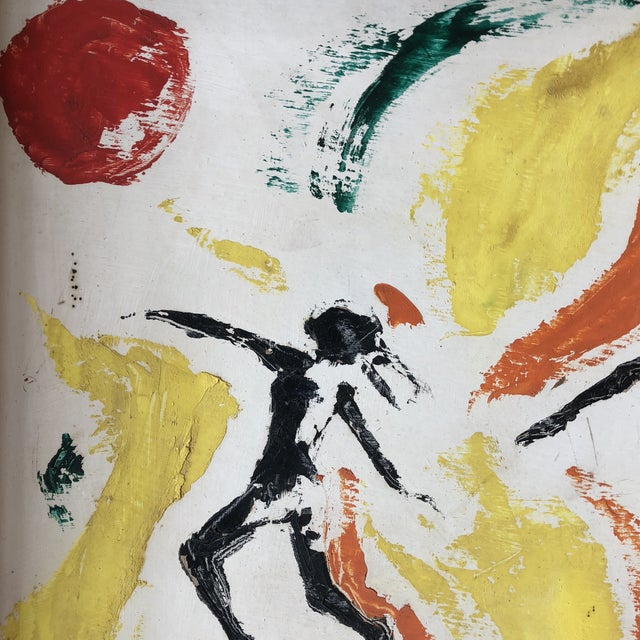 Abstract Original Vintage Female Nude Leaping Figures Abstract Painting For Sale - Image 3 of 7