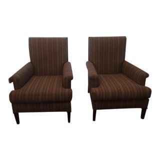 Striped High Back Club Chairs - a Pair