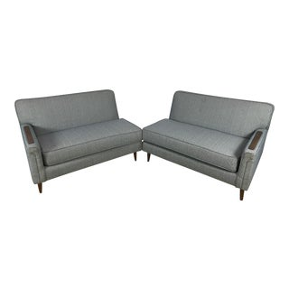 Mid-Century Two Pc. Blue Sectional Sofa