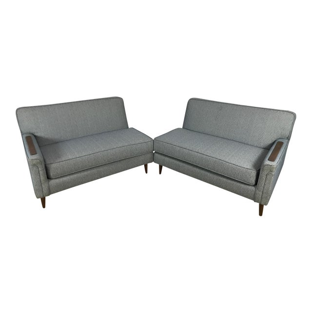 Mid-Century Two Pc. Blue Sectional Sofa For Sale