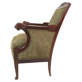 French Empire Mahogany Fauteuil With Carved Lion's Head Armrests Circa 1805-1810 For Sale