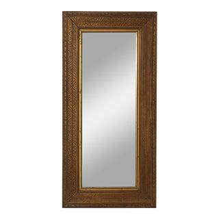 Vintage Burled Pattern Wood Mirror