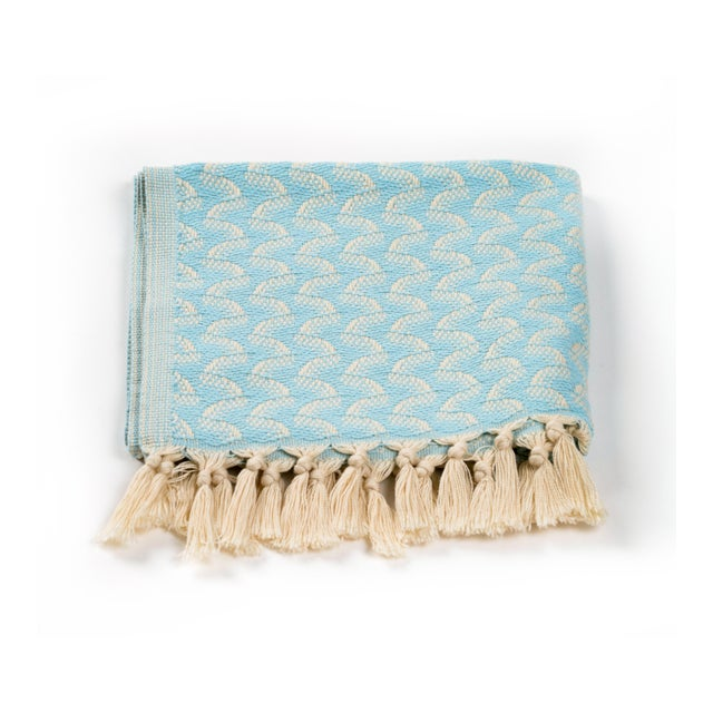 Modern Silent Ripple Handmade Organic Cotton Hand Towel in Powder Blue For Sale - Image 3 of 5
