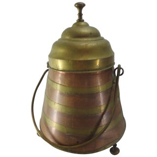 French Copper and Brass Arts & Crafts Footed Vessel With Lid For Sale