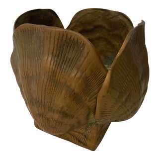 1980s Vintage Brass Scallop Shell Planter For Sale